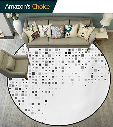 RUGSMAT Grey Modern Washable Round Bath Mat,Digital Pattern Composed of Geometric Elements Radiant Rectangle Parallel Picture Print Non-Slip Bathroom Soft Floor Mat Home Decor,Round-63 -