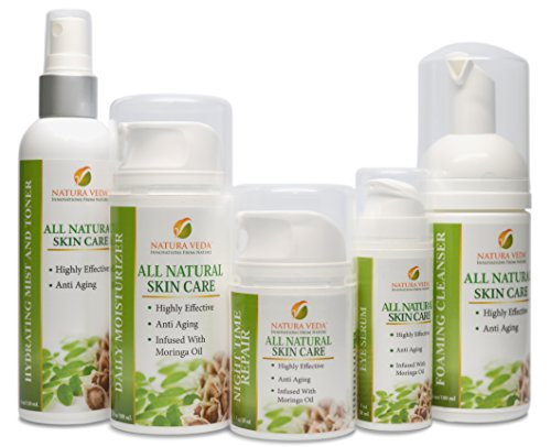 Natura Veda - All Natural 5 Step Skin Care System - Anti Aging - Moringa Oil Infused