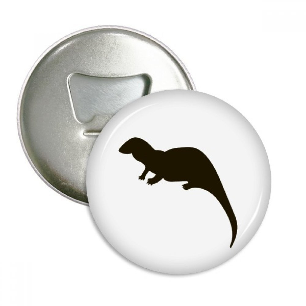 Black Seaotter Animal Portrayal Round Bottle Opener Refrigerator Magnet Badge Button 3pcs Gift