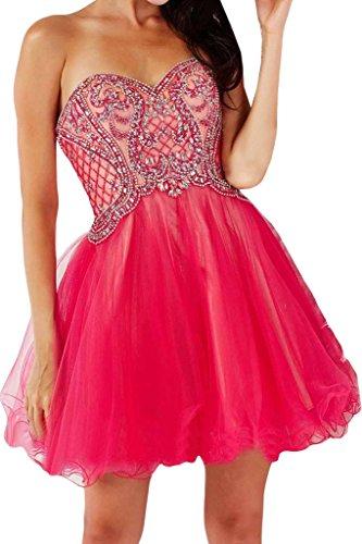 una Red Homecoming sposa Sweetheart organza da abito in conti linea raso di Fiesta paillette Sunvary 567wpqHW
