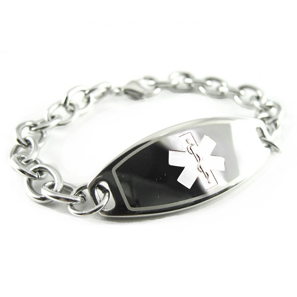 My Identity Doctor - Pre-Engraved & Customized Epilepsy Medical Alert ID Bracelet, White, Wallet Card Incld