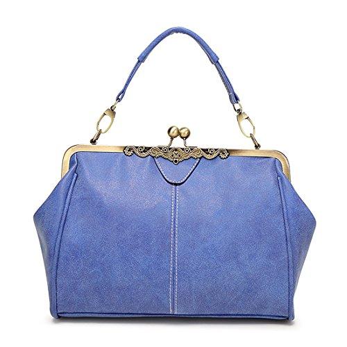 YYW Satchel - Bolso estilo cartera para mujer azul real