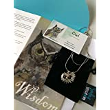 Smiling Wisdom - Owl Face Totem Spirit Animal Gift Set - Greeting Card - Juvenile Artist - Native American Totem - Unique Jewelry Gifts for Her, Girls, Teen, Young Adult, Woman - Silver
