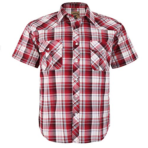 Coevals Club Men's Button Down Plaid Short Sleeve Work Casual Shirt (Red Plaid #27, -