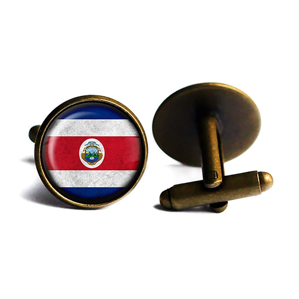 Costa Rica Costa Rican Flag Antique Bronze Cufflinks