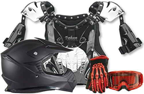 Kids Youth Offroad Helmet Gloves Goggles Chest Protector GEAR COMBO Motocross ATV Dirt Bike MX Red Matte Black (Medium)