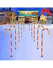 Surakey świąteczny solarny łańcuch świetlny LED – 8 sztuk, gwiazdy, podświetlane laski cukrowe, do dekoracji ogrodu, na balkon, oświetlenie bożonarodzeniowe, dekoracja zewnętrzna