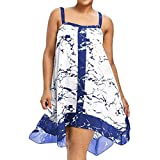 FEITONG Plus Size Women Summer Sleeveless Strappy Printing Casual Sling Beach Party Dress(X-Large,Blue)
