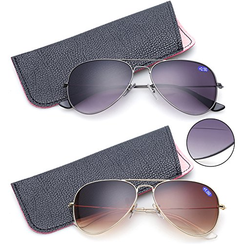 2 Pack Bifocal Sunglasses With Readers Gradient Lens UV400 Reading Glasses (2 Color, ()