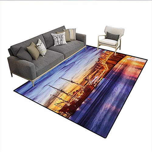 Carpet,St. Augustine Florida Famous Bridge of Lions Dreamy Sunset Majestic,Rug Kid Carpet,Orange Blue CoralSize:5'x6' -