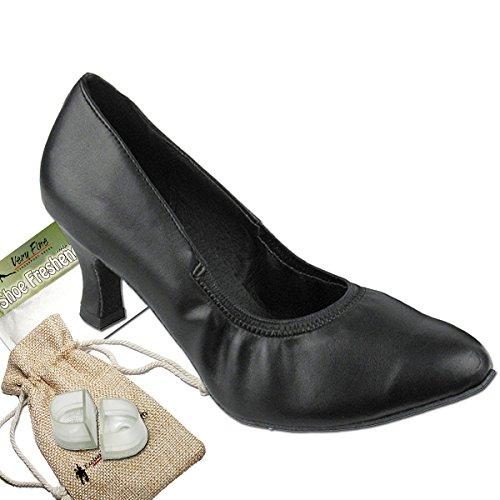 Women's Ballroom Dance Shoes Tango Wedding Salsa Dance Shoes Black Leather 9624EB Comfortable - Very Fine 2.5