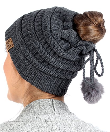 MIRMARU Women's Ponytail Messy Bun Beanie Ribbed Knit Hat Cap with Adjustable Lovely Pom Pom String (Charcoal)