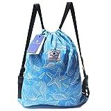 Drawstring Backpack,Beach Bag,Pool Bag or Gym Travel Tote - Lightweight Water Resistant Sea Bags