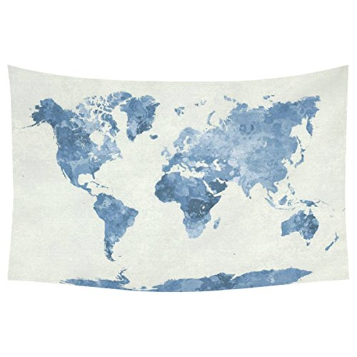 World map tapestry amazon interestprint abstract art splatter painting home decor watercolor bule world map tapestry wall hanging art sets 60 x 40 inches gumiabroncs Gallery