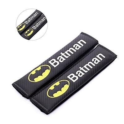 Amooca Carbon Fiber Seat Belt Strap Cover for Any Car-Black with Batman Logo(Shoulder Strap): Automotive