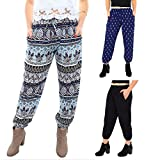 Piney+Co Harem Pants for Women Thai Elephant Pants | Ultra Soft Boho Chic | Flexible Waistband and Ankle | Black S