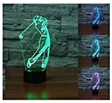 3D Golf Player lamp Night Light Touch Table Desk Optical Illusion Lamps 7 Color Changing Lights Home Decoration Xmas Birthday Gift