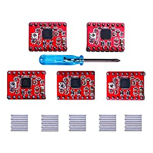 Elegoo Stepstick Stepper Motor Driver Module A4988 + Heat Sink for 3D Printer Reprap, CNC Machine or Robotics(Pack of 5) from Elegoo