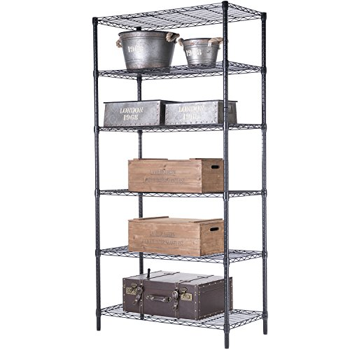 - SINGAYE 6 Tier Wire Shelving Unit Garage Wire Shelf Metal Storage Shelves Heavy Duty Height Adjustable for 771 LBS Capacity