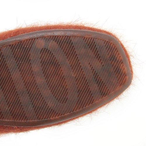 ENMAYER Suede Low Wedge Almond Toe Boat Flats con piel caliente Gris2