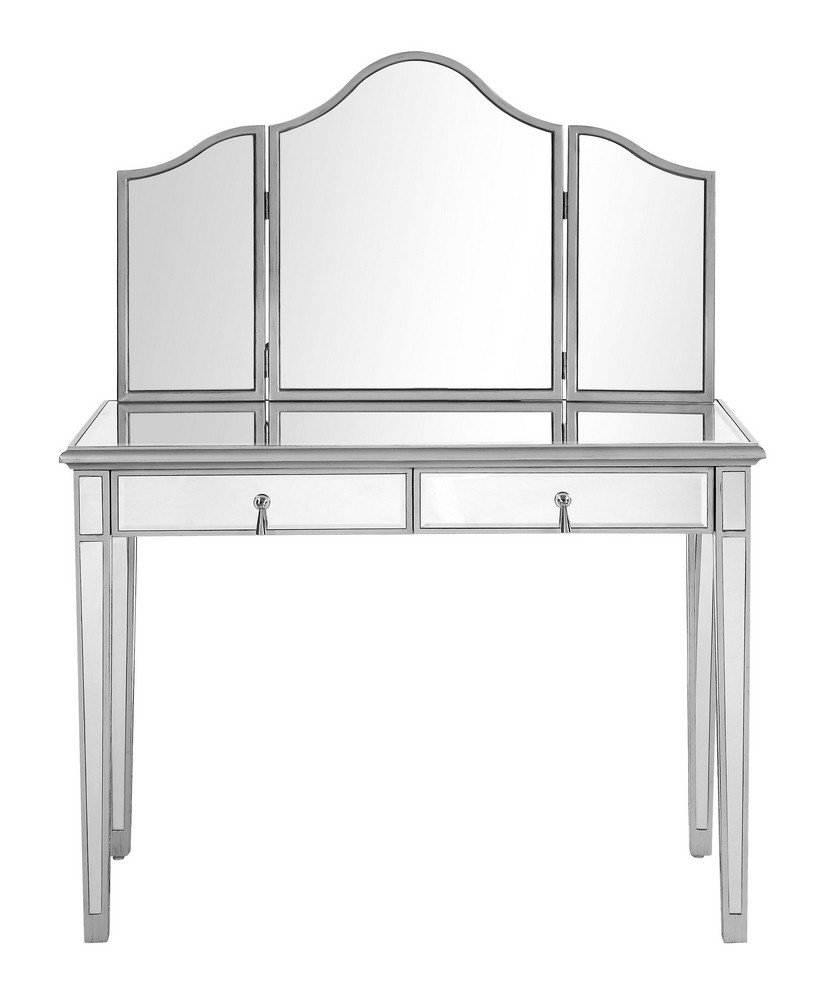 Elegant Lighting Chamberlan Mirrored 2 Piece Vanity Table Set