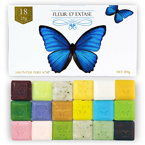 Fleur D' Extase (Ecstacy) Soap Gift Set With 18 Bars Of Guest Soaps - All Natural (18 Soaps Gift -