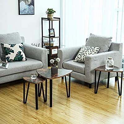 SONGMICS Vintage Nesting Coffee Table Set of 3, End Side Tables, Nightstand, Stacking Telephone Tea Table, Easy Assembly ULNT13X