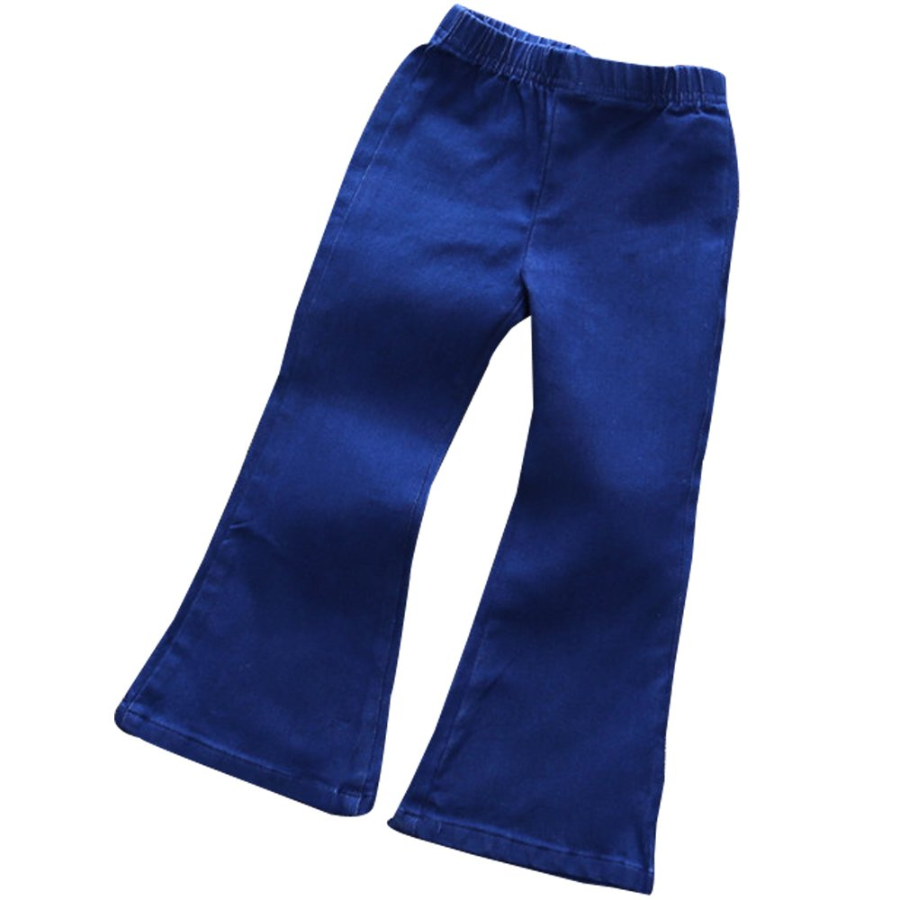 Little Girls' Skinny Bell-Bottom Girl Blue Jeans Kids Ankle Pants Bottoms