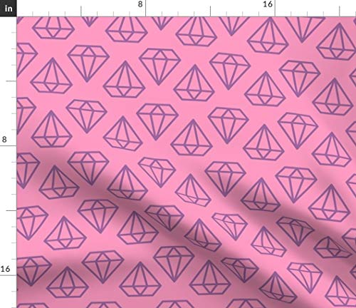 Spoonflower Pink and Purple Diamonds Fabric - Unicorns Nursery Diamond Outline Geometric Gems Hipster Simple Print on Fabric by The Yard - Denim for Sewing Bottomweight Apparel Home Decor Upholstery