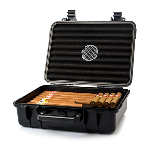 Jamestown Cigar Large Plastic Travel Humidor Case - Waterproof, Dustproof, Shockproof Premium Plastic Hard Shell Case - Built in Foam Humidor and Holds Up to 50 Full-Sized (Plastic Travel Humidor)