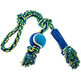 """Dog Rope Toy 21"""" ★ Free Bonus Dog Collar ★ Tug of War Dog Toy ★ Strong, Safe Cotton Rope Dog Toy ★ Quality Pet Toys for Dogs - by BigUpBrands"""