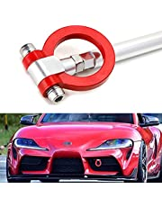 iJDMTOY Red Track Racing Style Tow Hook Ring Compatible With 2020-up Toyota Supra GR, Made of Lightweight Aluminum