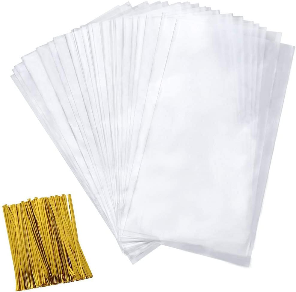 Cellophane Goody Bags 200 PCS Clear Cello Treat Bags Party Favor Bags for Bakery Cookies Candies Dessert with 200 PCS Metallic Twist Ties (4 by 9 Inch)