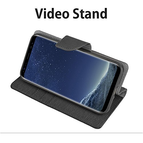 Funda Lona Galaxy A8 / A8 Plus 2018 Canvas Diario Flip Cover [Ranura para Tarjeta Wallet] Funda de Silicona Soft Magnet Hebilla [Bookstyle con Video Stand Function] para Samsung (Galaxy A8 2018, Gris) Negro