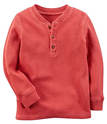 Carter's Boys Long Sleeve Thermal Henley Tee; Coral (5)