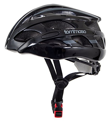 Tommaso Aria Ultra Lightweight Cycling Bike Helmet (188 grams), Road & Mountain Biking, Adjustable Fit, Fully Certified Safety Protection For Adult Men & Women and Youth - Gloss Black - (Ironman Bicycle Helmet)