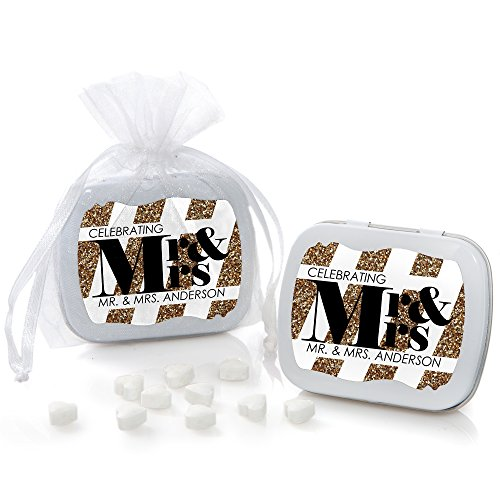Personalized Heart Shaped Mint - Custom Mr. & Mrs. - Gold - Personalized Wedding Party Favors Mint Tins - Set of 12