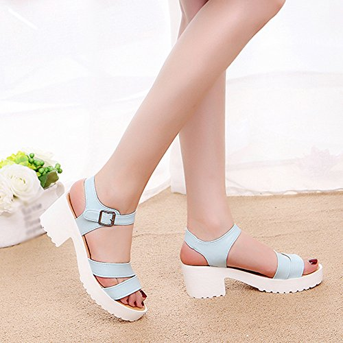 For Womens Sandals Toe Heels Blue Outdoor Shoes Round Sale Buckle Women Wedges ��farjing High Slope clearance Platform x15Udqw4