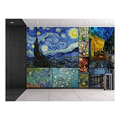 Made to Last, Pretty Piece of Art, Peel and Stick Wallpapaer Famous Paintings Collage by Vincent Van Gogh Removable Large Wall Mural Creative Wall Decal