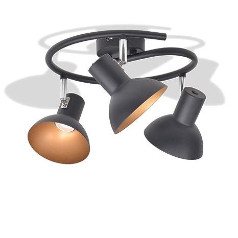 vidaXL Lámpara de Techo Moderna Cricular 3 Luces E27 Metal Negra y Dorada