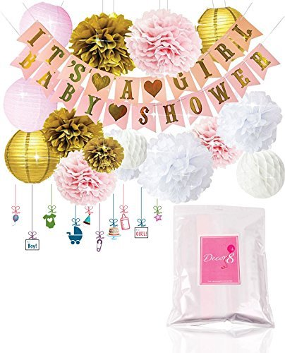 Free Printable Baby Shower Decorations - Decor8 Baby Shower Decorations IT'S A GIRL & BABY SHOWER Banners, Lanterns, Pom Poms, and Honeycomb Balls. FREE Printable Decoration eBook. Pink Rose Cream Gold & White Nursery Room Decor for Babies