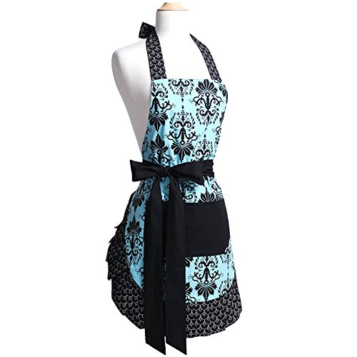 G2PLUS Floral Aprons for Women with Pockets, Extra Long Ties, Vintage Damask Apron, Perfect for Kitchen Cooking, Baking and Gardening, 29 x 21 - inch (Adult Women)