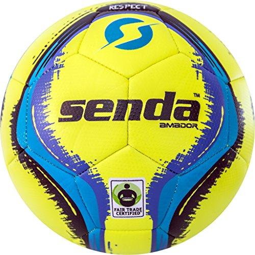 Senda Amador Training Soccer Ball, Fair Trade Certified, Yellow/Light Blue, Size 4 (Ages 8-12)