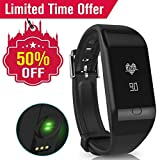 Fitfly Heart Rate Monitor Waterproof Bluetooth Smart Fitness Tracker Wristband,Silicone Wristband,Calorie and Step Counter,Call Notification for Android iOS.