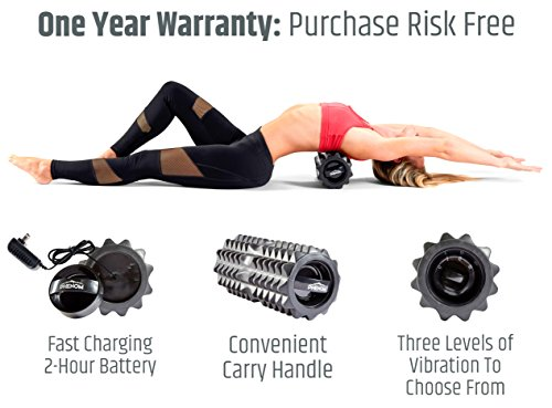 Monument Phenom 3 Speed Vibrating Foam Roller - Myofascial Recovery | Release Tension, Stiff Sore Muscles; Enhance Mobility, Performance, and Pliability Training Deep Tissue Massage (Black)