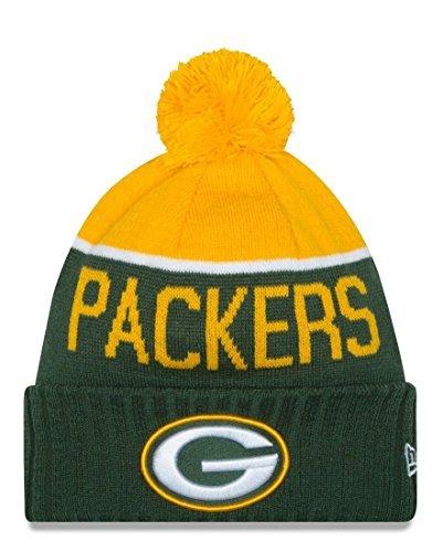 0e95ebc970b70 Amazon.com  New Era Knit Green Bay Packers Green On Field Sideline Sport  Knit Winter Stocking Beanie Pom Hat Cap 2015 by New Era  Sports   Outdoors