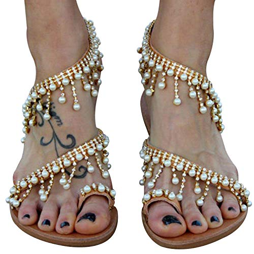 XMWEALTHY Women's Strappy Flat Sandals Bohemia Jeweled Toe Ring Gladiator Sandals Roman Shoes Golden US 7.5