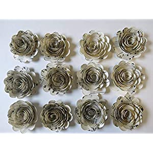 Scalloped Sheet Music Paper Flowers, 12 Roses, 1.5 Inch Rosettes, Music Theme Party Decor, Band Teacher Gift Idea 25