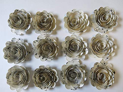 (Scalloped Sheet Music Paper Flowers, 12 Roses, 1.5 Inch Rosettes, Music Theme Party Decor, Band Teacher Gift Idea)