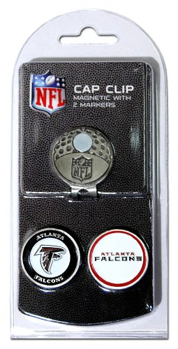 Team Golf NFL Atlanta Falcons Golf Cap Clip with 2 Removable Double-Sided Enamel Magnetic Ball Markers, Attaches Easily to Hats